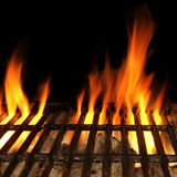 Barbecue Fire Grill Isolated On The Black Background, Close-up Royalty Free Stock Images
