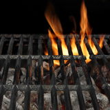 Barbecue Fire Grill Isolated On The Black Background, Close-up Stock Images