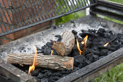 Barbecue fire Stock Images