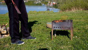 Barbecue fire nature stock footage