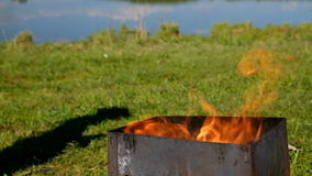 Barbecue fire nature stock video footage