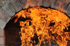 Barbecue with fire Royalty Free Stock Images