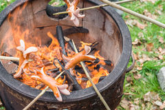 Barbecue with a fire pot and some Sausages on sticks.  Royalty Free Stock Photography