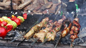 Barbecue fish, meat and vegetables roast on the grill.Street Food, Fast Food, Snack on the street, taseful, delicious. Barbecue fish, meat and vegetables roast stock footage