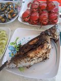 Barbecue fish and seafood platters Stock Photos