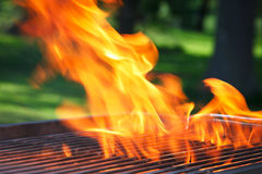 Barbecue with flames and copy space Royalty Free Stock Images