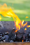 Barbecue with flames and copy space Stock Photography