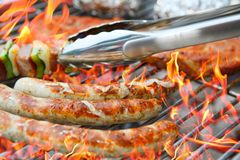 Barbecue with flames Royalty Free Stock Photos