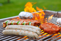 Barbecue with flames Stock Image