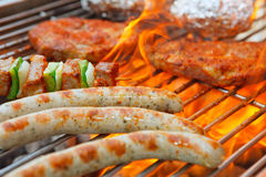 Barbecue with flames Stock Photos