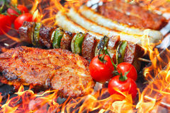 Barbecue with flames Stock Photography