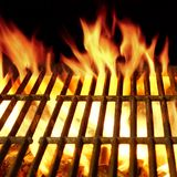 Barbecue Flaming Grill Close-up Background Royalty Free Stock Image