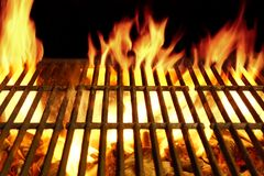 Barbecue Flaming Grill Close-up Background Stock Photos