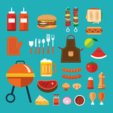 Barbecue flat icon. Vector barbecue flat icon set stock illustration