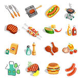 Barbecue Food Accessories Flat Icons Set Stock Photography