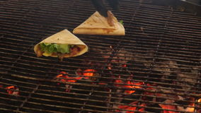 Barbecue food grill. Barbecue on charcoal grill. Meat on skewers as street food stock video