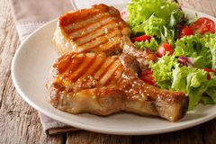 Barbecue food: a grilled pork chop in sweet honey glaze and a sa royalty free stock photography