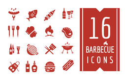 Barbecue and Food Icons Vector Objects set Stock Photos