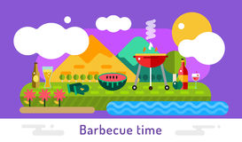 Barbecue and food icons vector set outdoor. Landscape. Outdoor, BBQ, fish on grill, kitchen, meat food, restaurant. Stock design elements Royalty Free Stock Photography