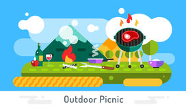 Barbecue and food icons vector set outdoor. Landscape. Outdoor, BBQ, fish on grill, kitchen, meat food, restaurant. Stock design elements Stock Images