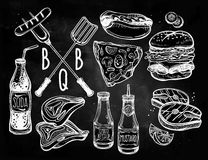 Barbecue food set line art. Royalty Free Stock Photography