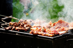 Barbecue in the forest.shashlik at nature royalty free stock photos