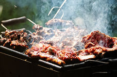 Barbecue in the forest.shashlik at nature Stock Photo