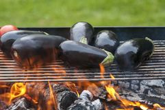 Making vegetables on grill- tomatoes and aubergines. Barbecue in the fresh air of delicious vegetables Royalty Free Stock Photography