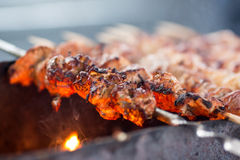 Barbecue fried beef or pork meat Stock Photo
