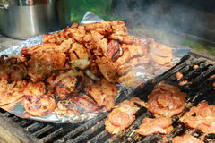 Barbecue or fried chicken and pork meat Royalty Free Stock Image