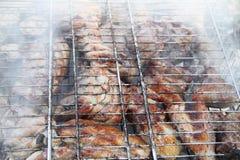 Barbecue fritto sul falò e sui carboni Immagine Stock Libera da Diritti