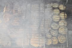 Barbecue fritto sul falò e sui carboni Immagine Stock