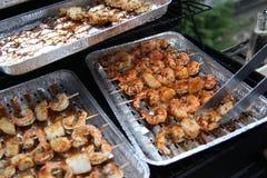 Barbecue-gambero-su-griglia Fotografia Stock Libera da Diritti
