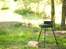 Barbecue in the garden. Making barbecue in the garden on a sunny day Stock Photography
