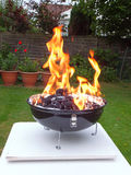 Barbecue in the Garden. Barbecue Flames in the back Garden Stock Photo
