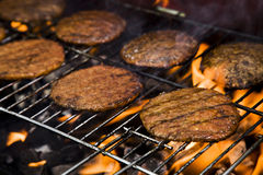 Barbecue in the garden, fried meat Stock Photography