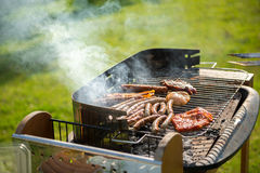 Barbecue in Garden Stock Image