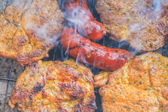 Barbecue garden process cooking meat grill Stock Photos
