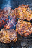 Barbecue garden process cooking meat grill Royalty Free Stock Photography