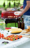 Barbecue in a garden Stock Images