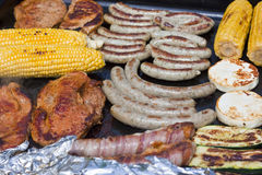 Barbecue with gas grill Royalty Free Stock Image