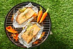Barbecue gastronome d'été de fruits de mer Photos libres de droits