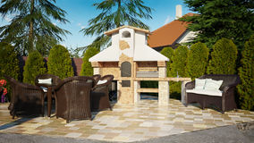 Barbecue gazebo luxury family house Royalty Free Stock Image