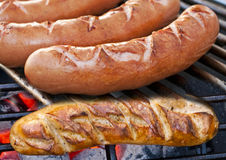 Barbecue with German Bratwurst Royalty Free Stock Photography