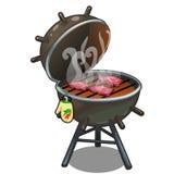 Barbecue, geroosterd vlees op de grill in openlucht vector illustratie