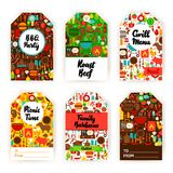 Barbecue Gift Tag Set. Flat Design Vector Illustration of Brand Identity royalty free illustration