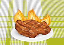 Barbecue on a green tablecloth Stock Image
