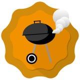 Barbecue gril. Illustration with orange badge background Stock Image