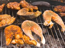 Barbecue grill. Hot barbecue grill close up Stock Photo