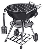 Barbecue grill appliance. Brand new barbecue grill appliance with utensil Royalty Free Stock Images